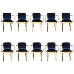 Set of Ten Modern Josef Hoffmann Thonet No 811 Blue Velvet Dining Chairs