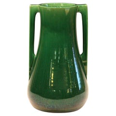 Awaji Pottery Architectural Buttress Handle Arts & Crafts Green Monochrome Vase