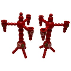 Traditional Wooden Red Swedish Christmas Candelabras, Turned, Hand-Painted