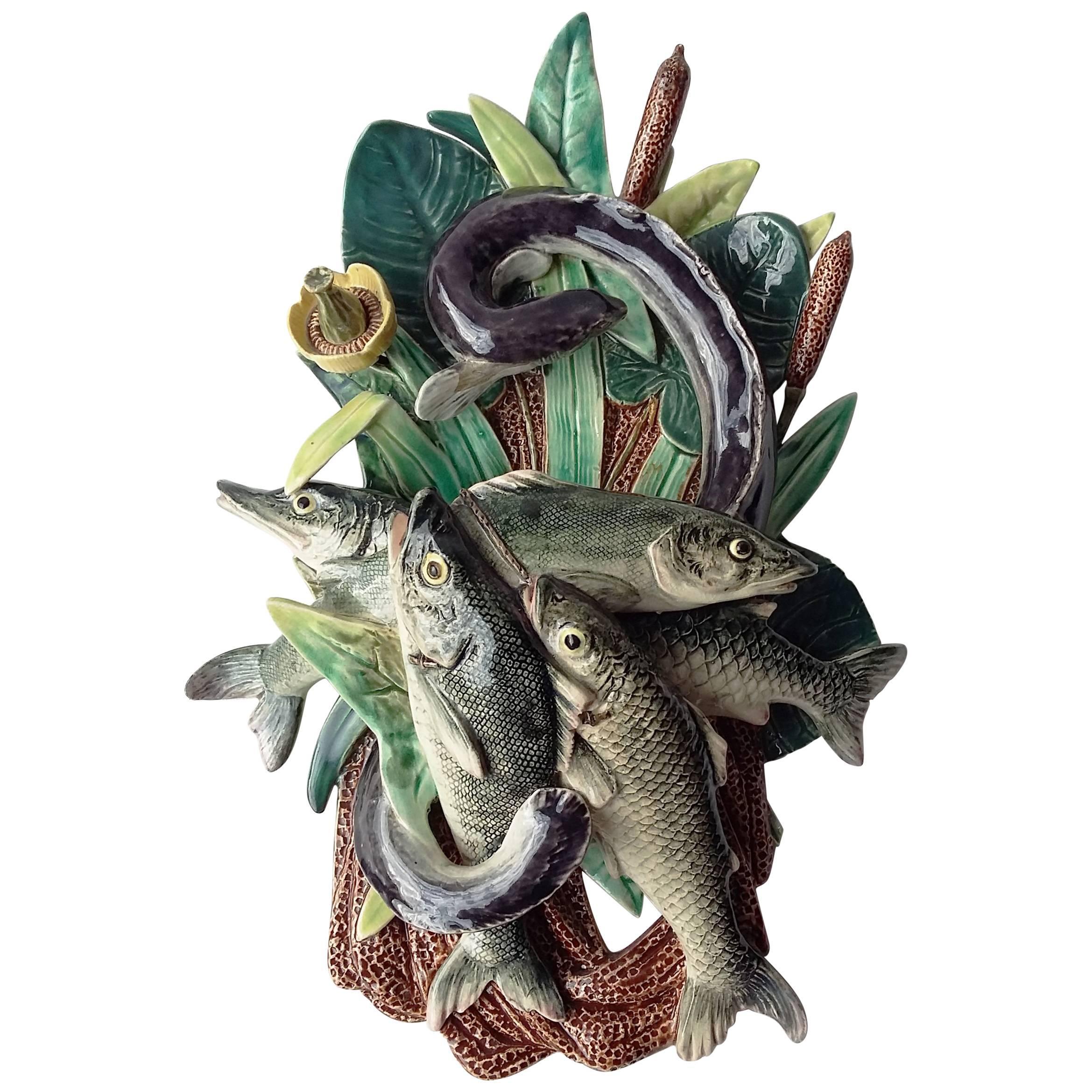 Majolica Palissy Fishs Wall Pocket Fives Lille, circa 1880