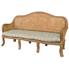 English 'Anglo-Indian Style' Natural Wicker Settee