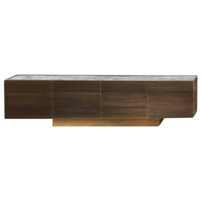 Wood Side-X Credenza with Stone Top and Brass Base