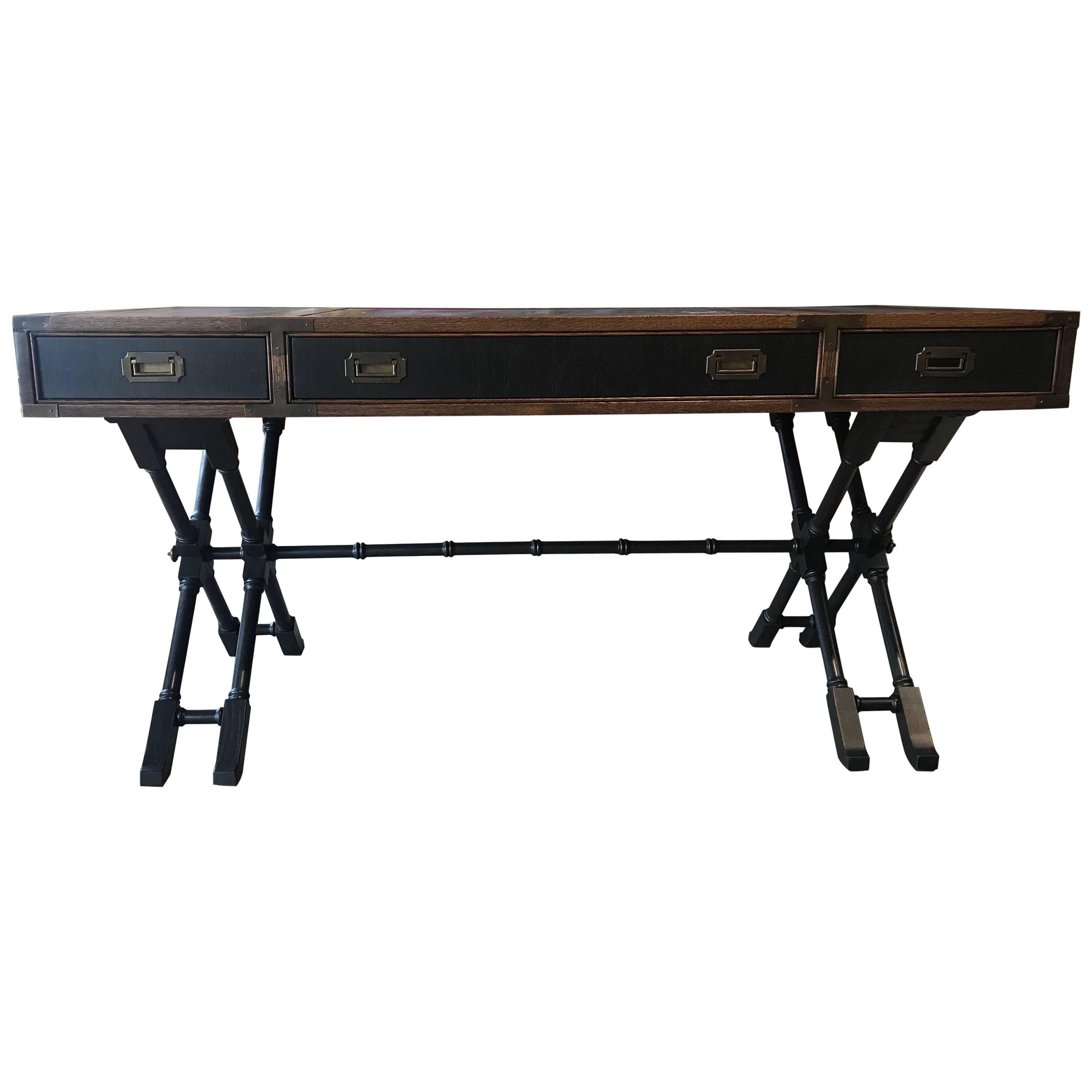 Beautiful Modern Campaign Style Faux Bamboo Desk With Leather Inserts U0026amp; Brass By  Brandt