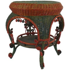 French Victorian Red and Green Painted Wicker Round End Table