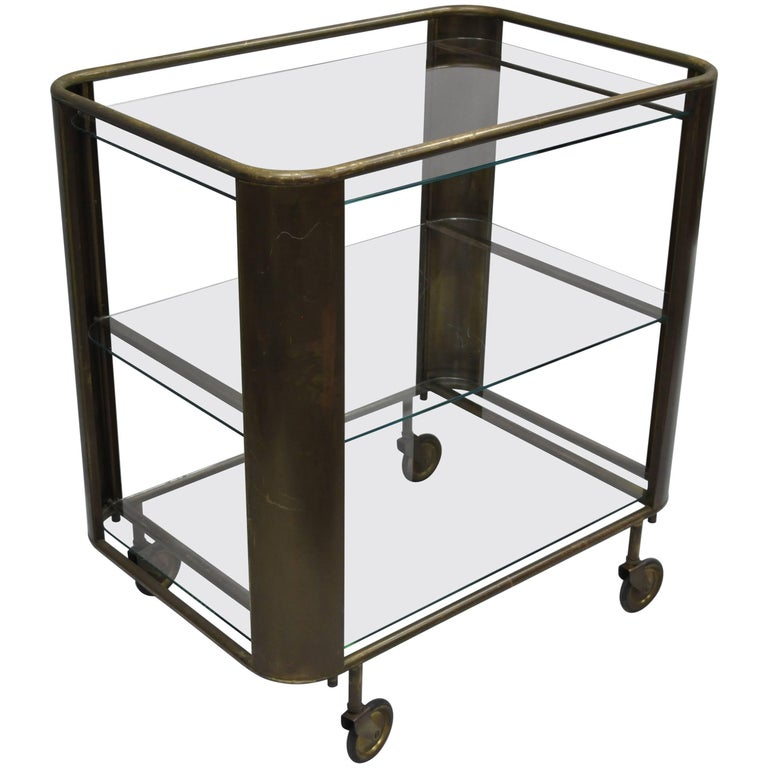 Italian Burnished Brass and Glass Modernist Bar Cart Trolley Table Midcentury