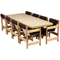 Børge Mogensen Style Dining Table and Chairs in Pine, Danish, Midcentury