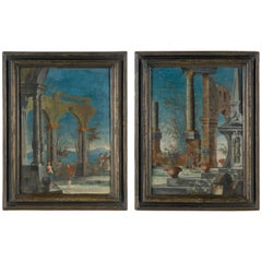 Pair of Venetian Commedia dell'Arte Paintings of the 18th Century