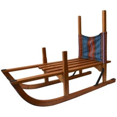 Traditional Childrens Wooden Sledge, Sweden, 1950s, Steel Reinforced Skids