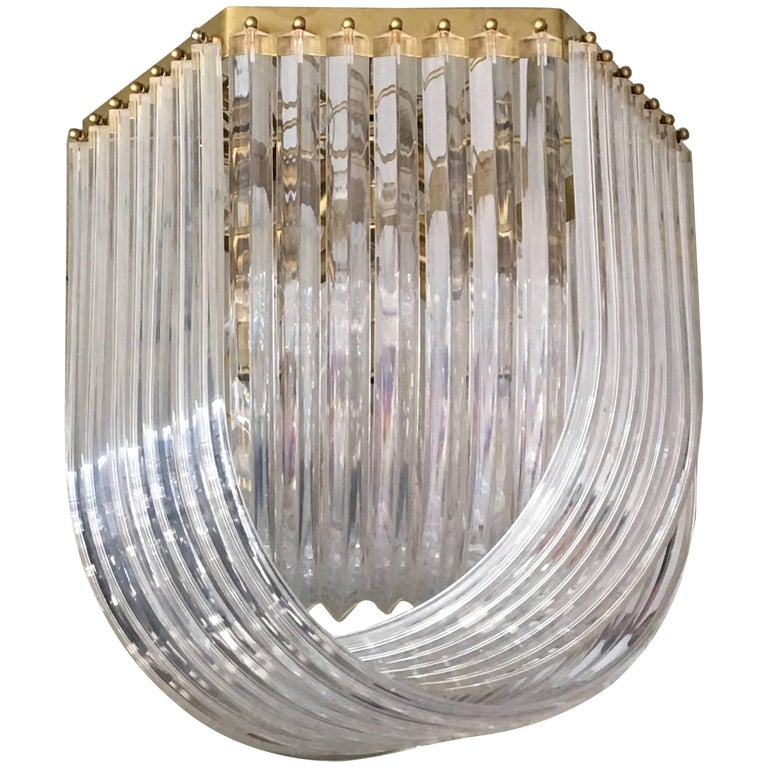 Brass and Lucite Ribbon Style Chandelier