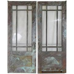 Pair of Antique Bronze and Glass Doors