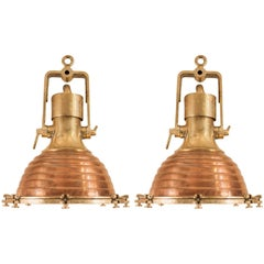 Pair of Large Copper and Brass Nautical Ship Deck Lights