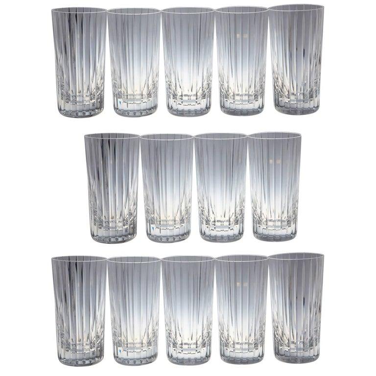 Set of 14 Baccarat Harmonie Crystal Highball Glasses For Sale