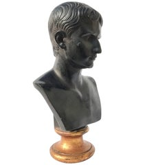 Classical Figural Bust in Black Plaster