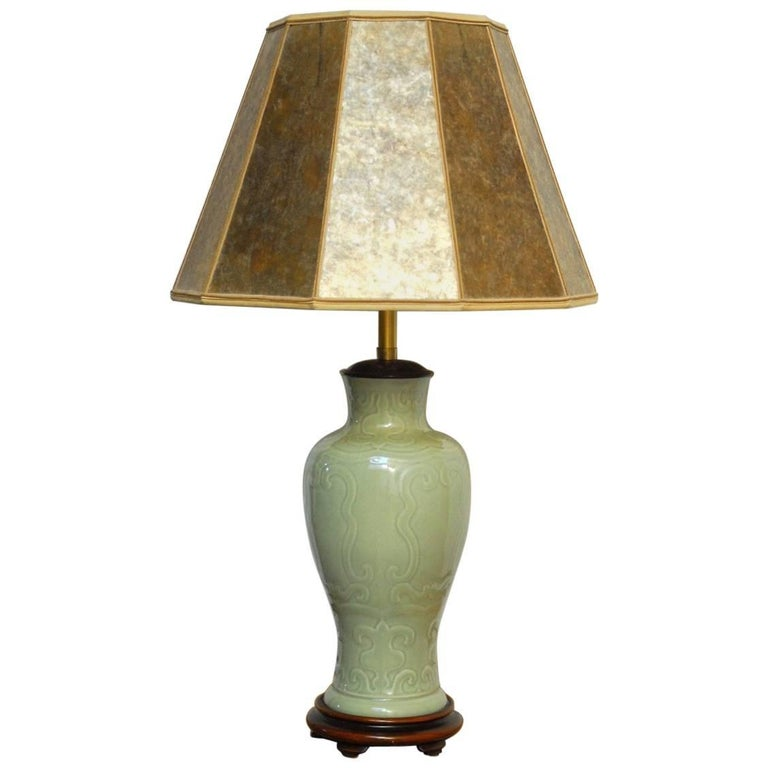 Chinese Porcelain Celadon Glazed Vase Table Lamp by Marbro