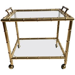 Vintage French Brass Faux Bamboo Drinks Trolley or Bar Cart