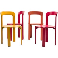 Colorful Set of Four Rey Chairs by Bruno Rey