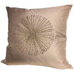 Silk Cushion Star Burst Hand Embroidery Swarovski Crystals Silk Color New Dawn