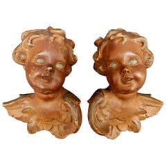 Pair of 19th Century French Carved Wood Angels