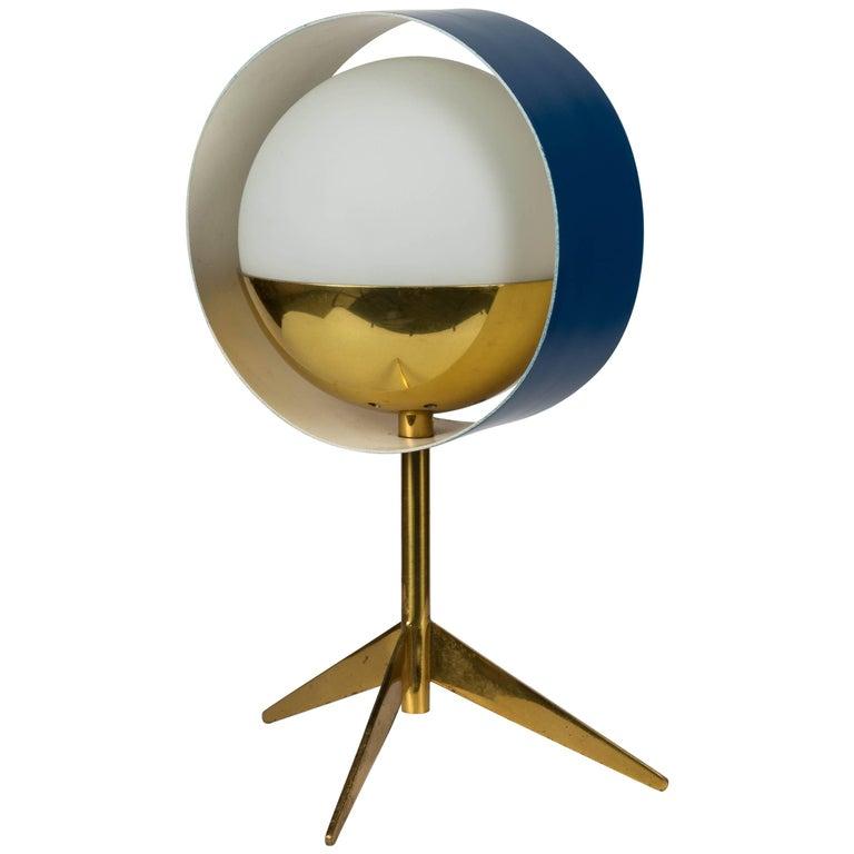 1950s Stilux Milano Brass and Glass Tripod 'Saturno' Table Lamp