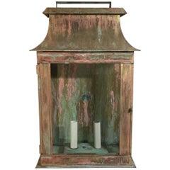 One Large Brass Wall Lantern