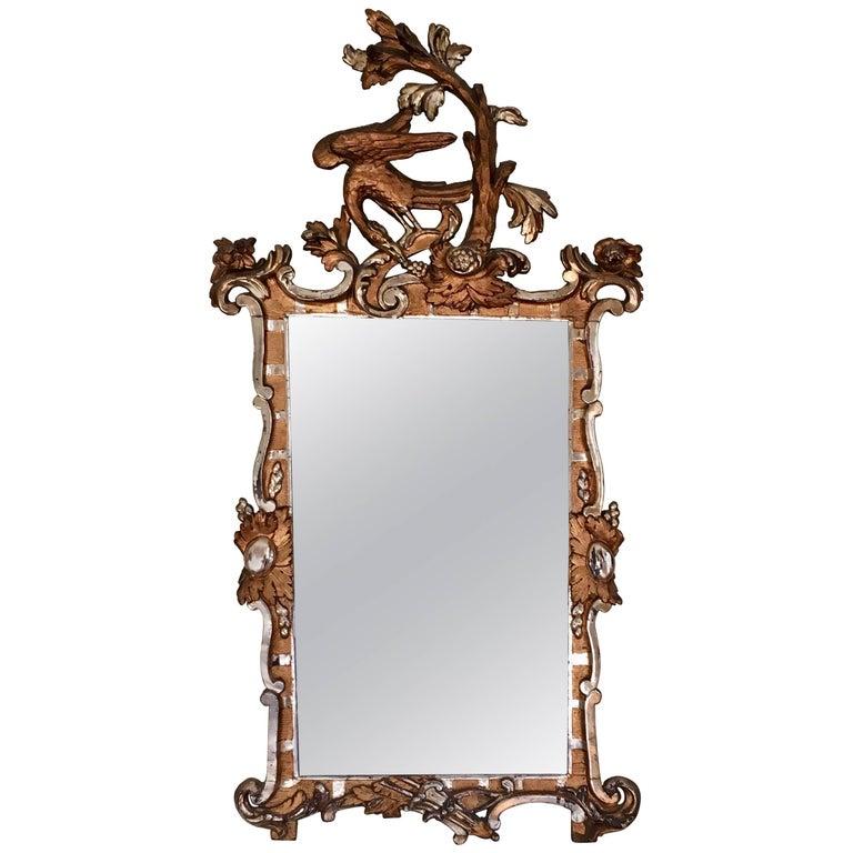 Danish/German 18th Century Giltwood Rococo Mirror with Ho Ho Bird For Sale