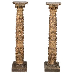 Pair of 17th Century Spanish Giltwood Column Pedestals