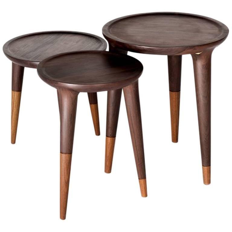 Chamak Tropical Wood Side Tables Set