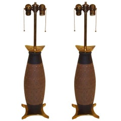 Pair of Modern Ceramic and Brass Table Lamps