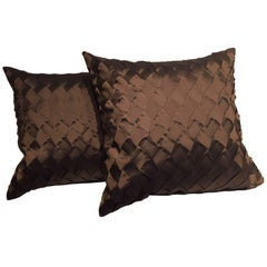 Pleated Silk Cushions Pleat Opal Pattern Color Chocolate