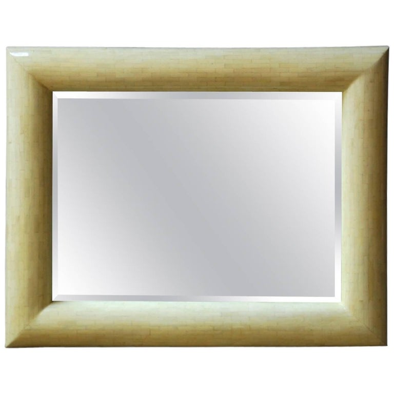Enrique Garcel Style Tessellated Bone Bevelled Mirror For Sale
