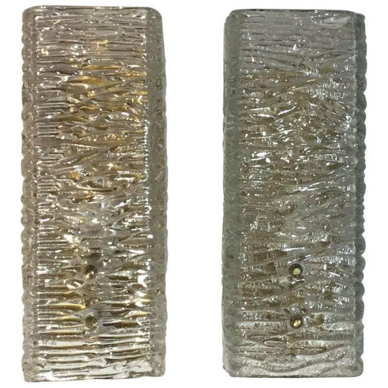 Pair of Qubist Textuer Glass Wall Sconces
