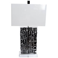 Unique Cities Lucite Table Lamp with Acrylic Shade