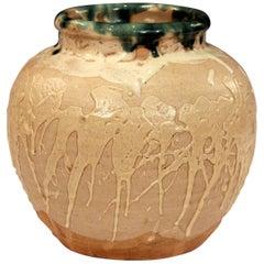 Vintage Awaji Pottery Large Japanese Jar Dripped and Splashed Glaze Vase