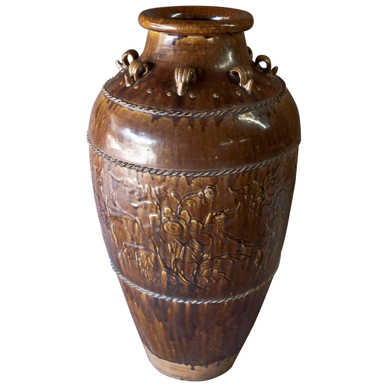 Tall Ming Dynasty Storage Jar. Martaban Ware. Found in Laos. Floral Design.