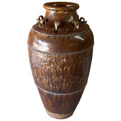 Tall Martaban Ware Storage Jar Ming Dynasty Found in Laos, Floral Design