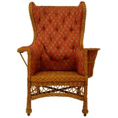 American Victorian Natural Wicker High Square Back Wing Chair