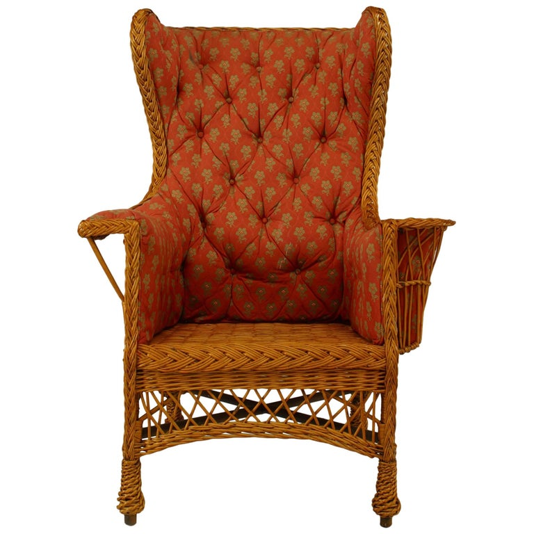 American Victorian Natural Wicker High Square Back Wing Chair For