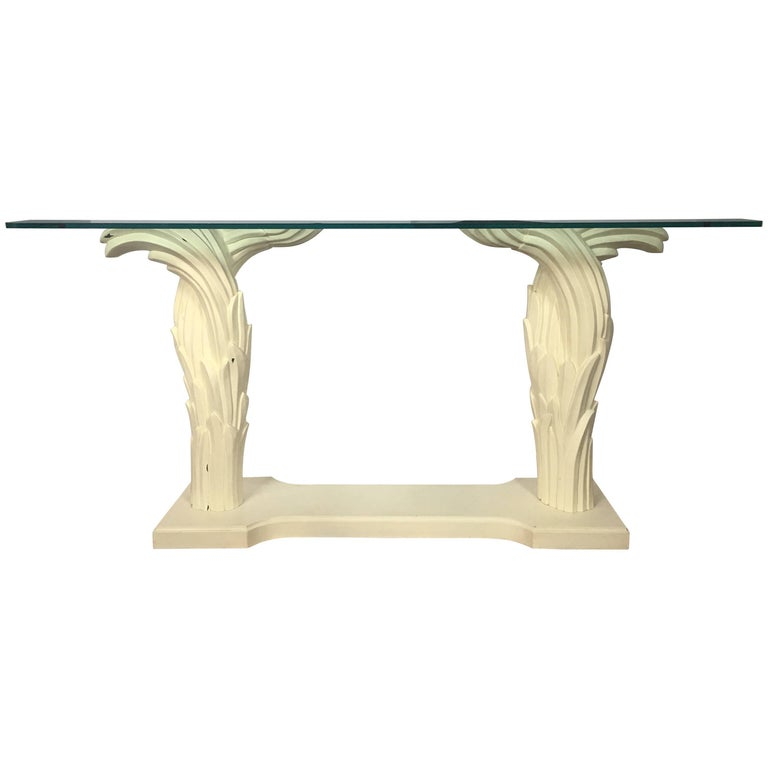 Hollywood Regency Serge Roche Style Palm Tree Console Table, 1970s