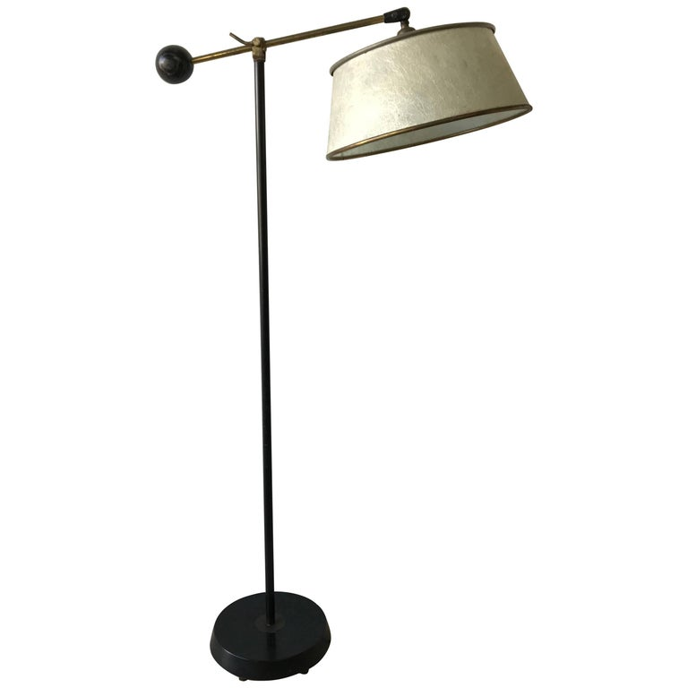 Art Deco Ebonized and Cerused Oak and Brass Adjustable Floor or Reading Lamp For Sale