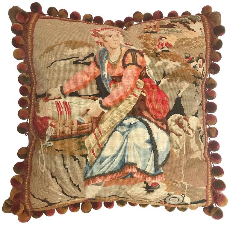 Antique European Needlepoint Pillow with Designer Wool Ball Fringe