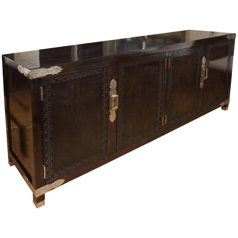 Vintage Midcentury Greek Key Cabinet/Buffet with Original Hardware 1