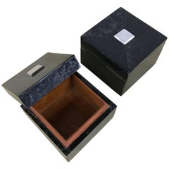 Pair of Maitland-Smith Tessellated Black Marble and Nickel Boxes