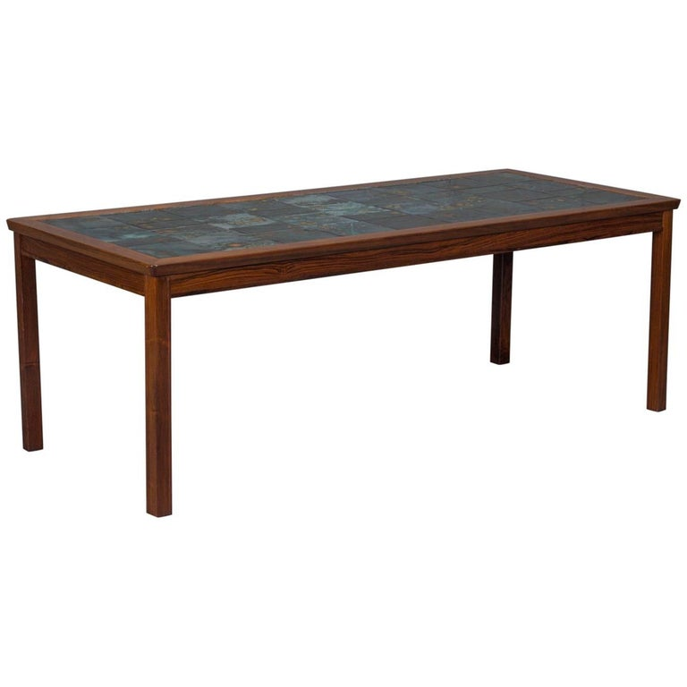 Rosewood and tile coffee table for sale at 1stdibs for Tile coffee table