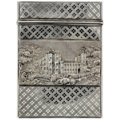 Victorian Silver Card Case Windsor Castle, Nathaniel Mills, Birmingham, 1837