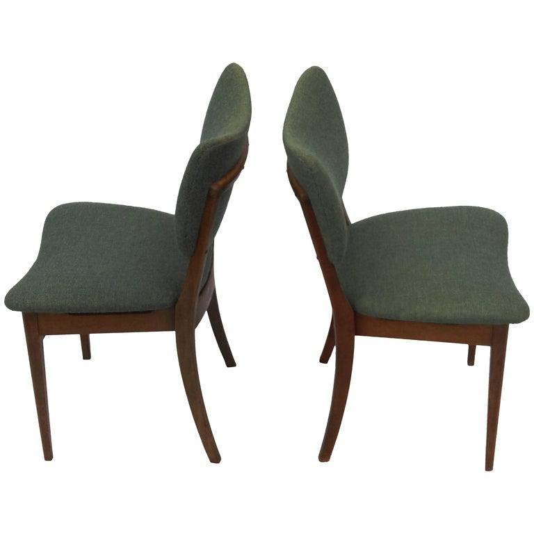 1940s Set of Two Danish Dining Chairs in Tanned Beech and Blue Fabric