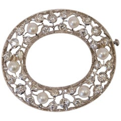 White Gold Diamonds and Pearls Mario Buccellati Oval Brooch, 1995