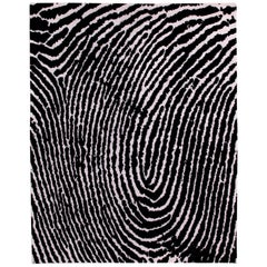 Black and White Graphic Thumbprint Area Rug