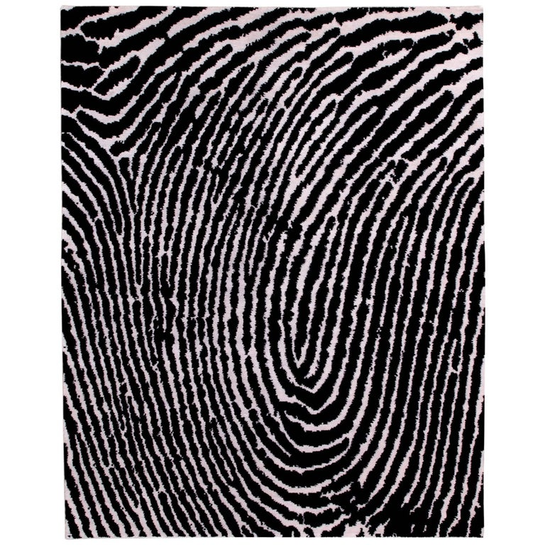 Black And White Graphic Thumbprint Area Rug For At 1stdibs