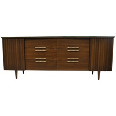 Mid-Century Modern Danish Walnut Angled Top Long Dresser Credenza 12 Drawer