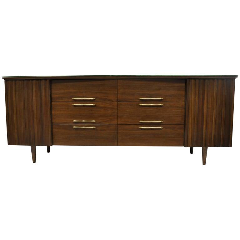 Mid-Century Modern Danish Walnut Angled Top Long Dresser Credenza 12 Drawer